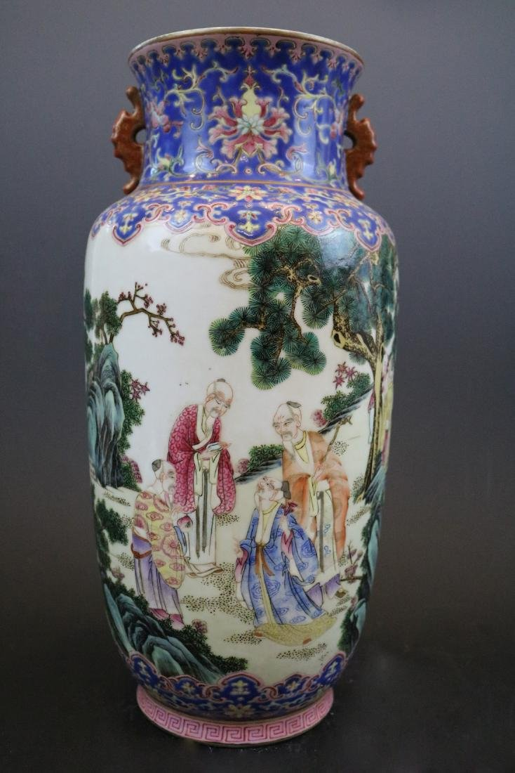 Qianlong Mark, A Famille Rose Vase With Human Pattern