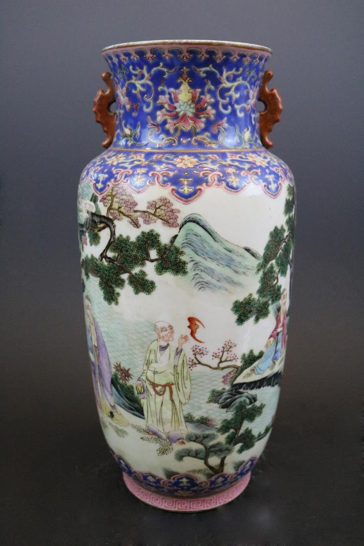 Qianlong Mark, A Famille Rose Vase With Human Pattern - 2