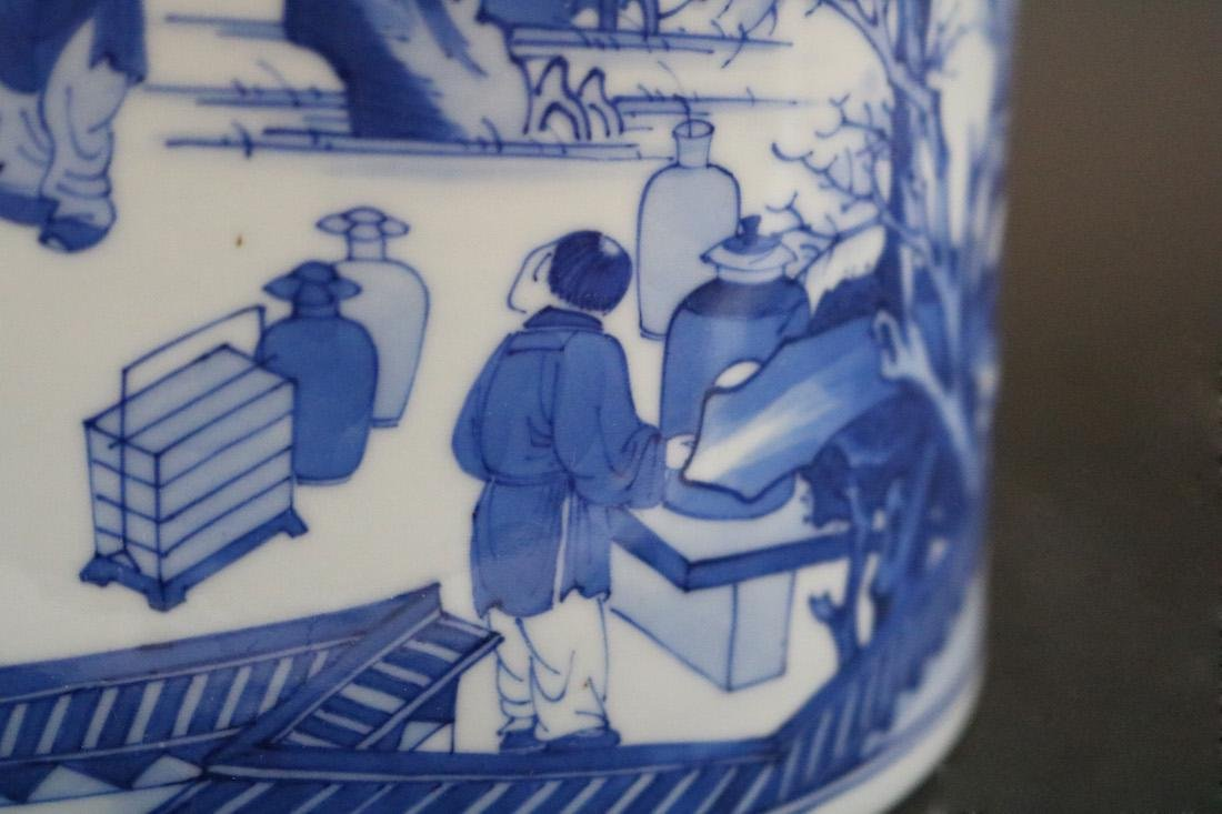 A Blue And White Brush Pot - 6