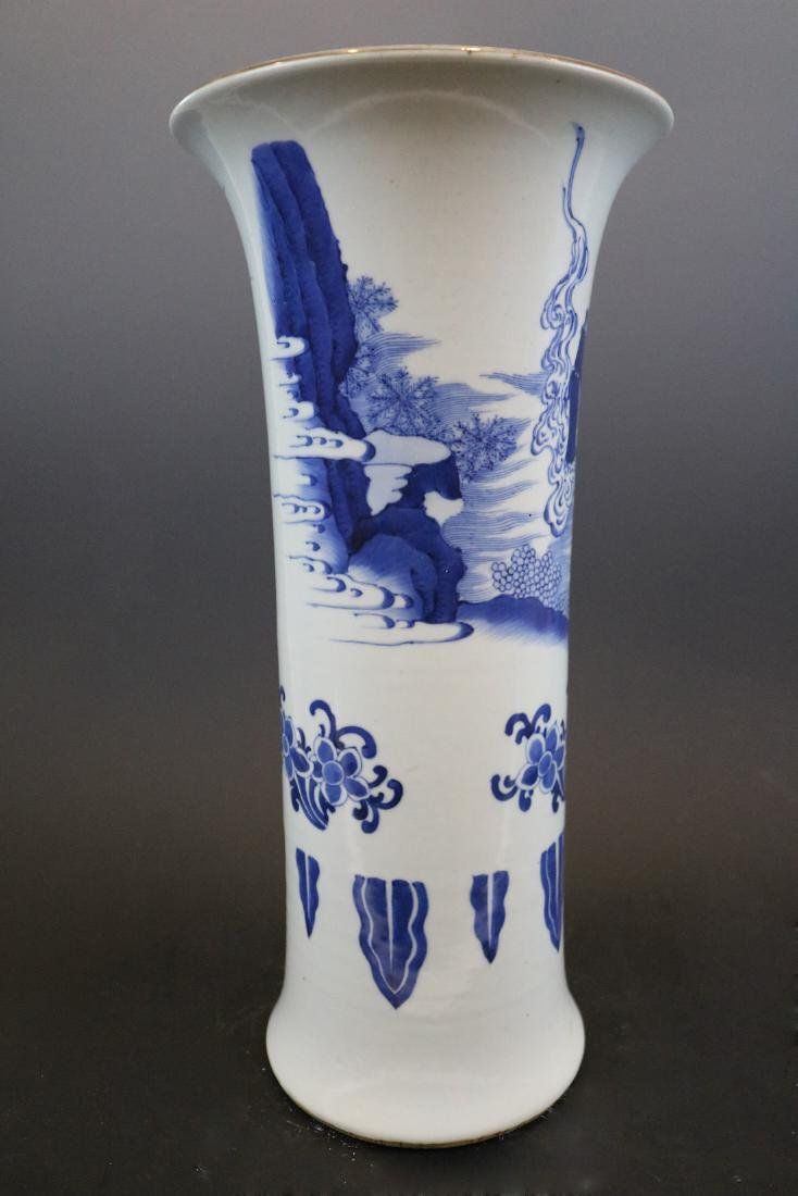 A Blue And White Vase With Human Pattern - 2