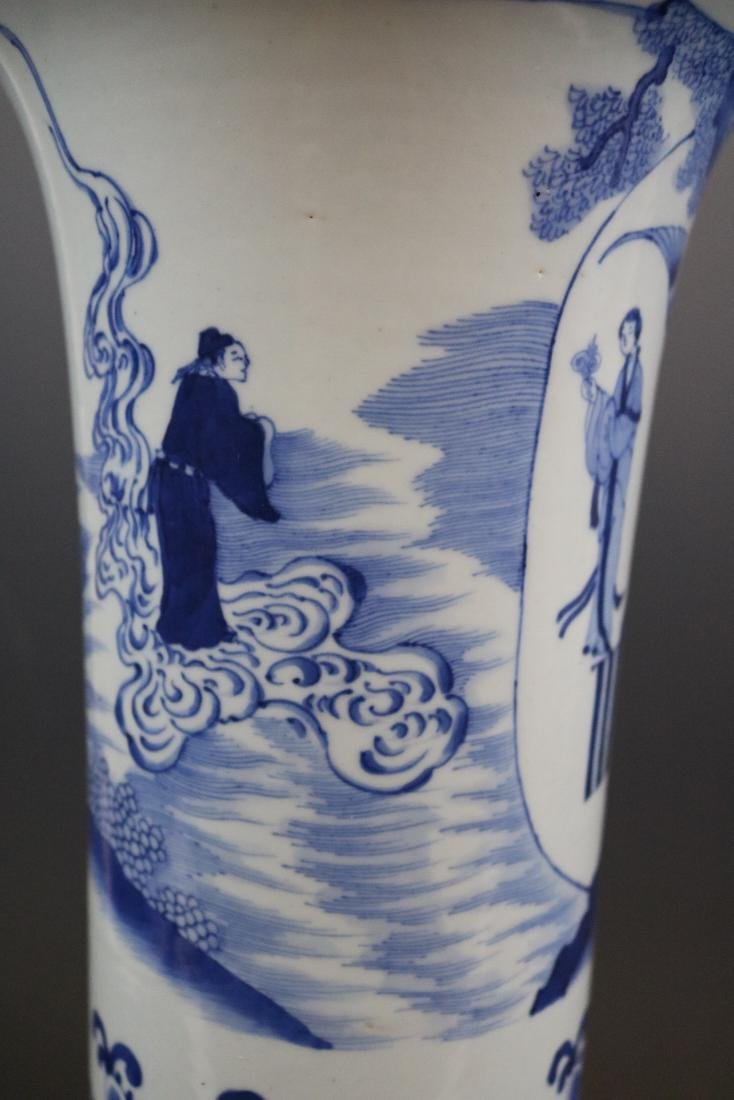A Blue And White Vase With Human Pattern - 4