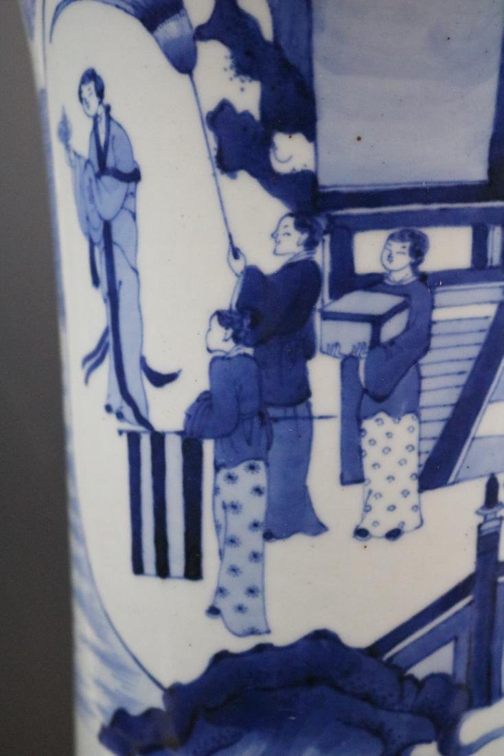 A Blue And White Vase With Human Pattern - 5