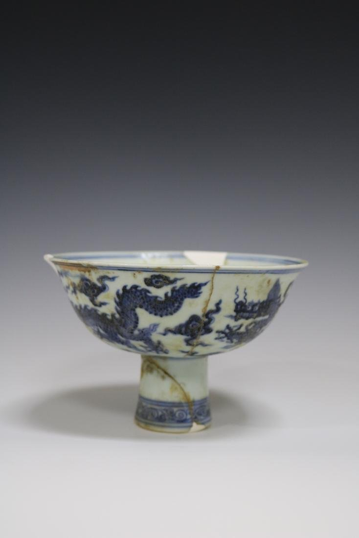 Xuande Mark,Blue And White Stem Bowl