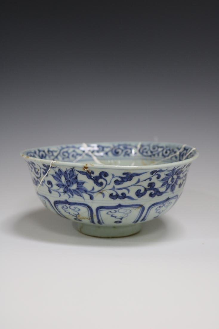 A Blue And White Bowl With Mandarin Ducks Pattern