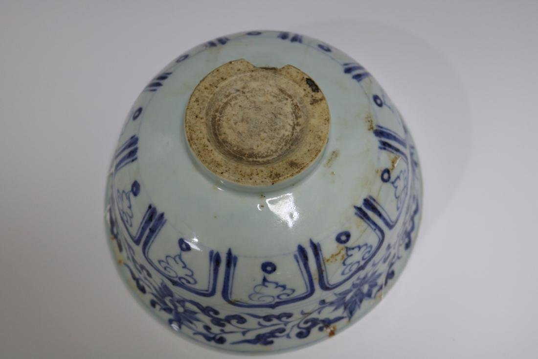 A Blue And White Bowl With Mandarin Ducks Pattern - 3
