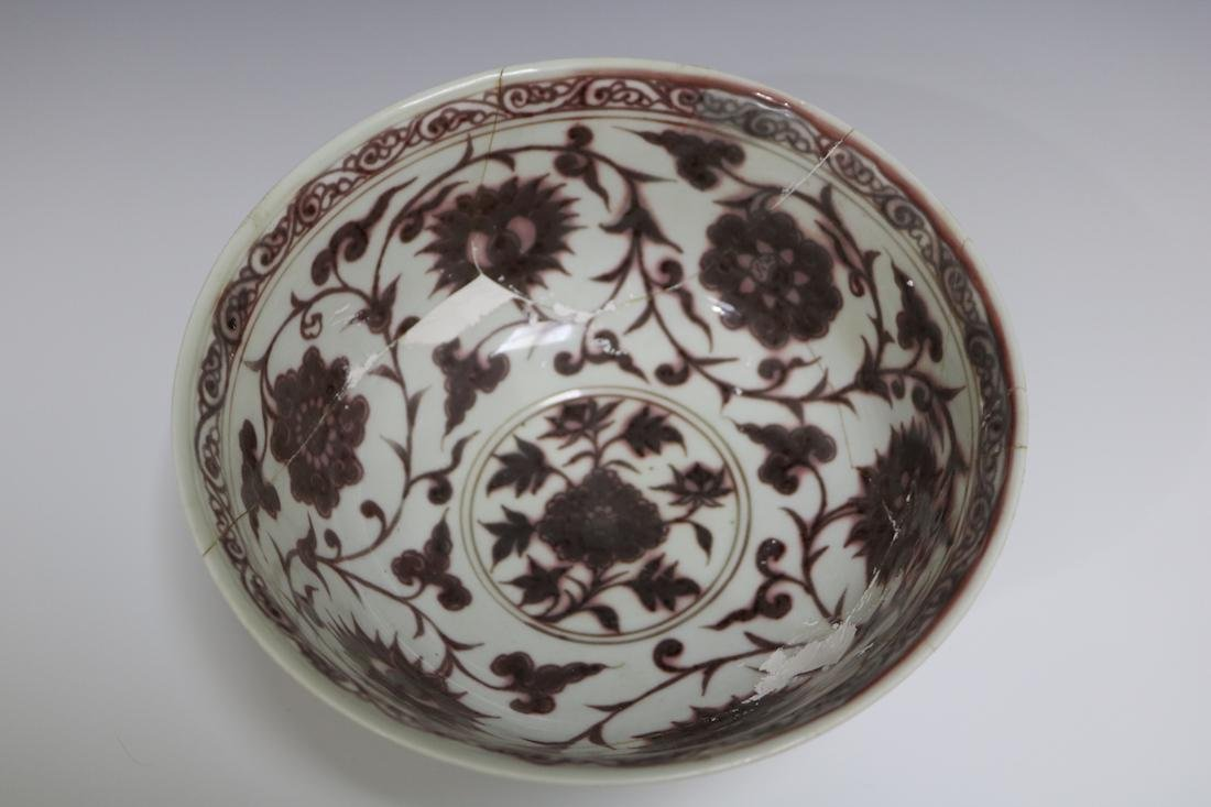 A Underglazed Red Bowl With Flower Pattern Repaired - 2