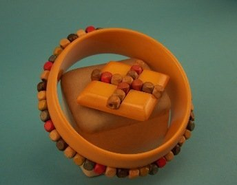 5: Bakelite Bracelet and Pin with Wood Beads