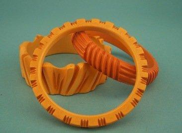 6: Lot of 3 Carved Butterscotch Bakelite Bracelets