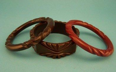 8: Lot of 3 Carved Brown Bakelite Bangles