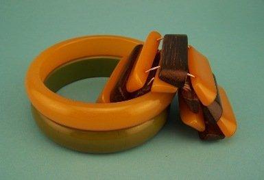 9: Lot of Three Bakelite Bracelets - 1 w/ Rosewood