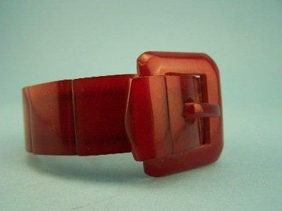 12: Translucent Red Bakelite Buckle Bracelet