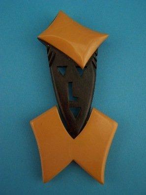 15: Incredible Bakelite.Carved Rosewood figural pin!