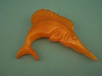 17: Carved Catalin Bakelite Swordfish Pin