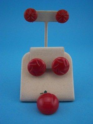 20: 2 pr Red Bakelite Earrings,crvd.1 Red Cherry pin