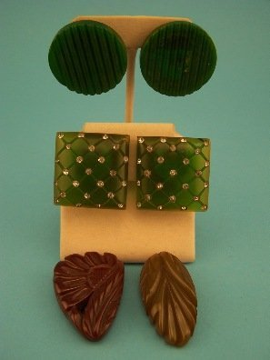 23: Two pr. Green Bakelite Earrings and Two Clips
