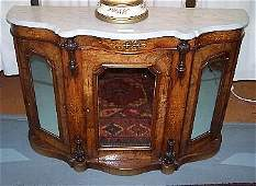 95: Marble Top Inlaid Bowfront Credenza.Italian