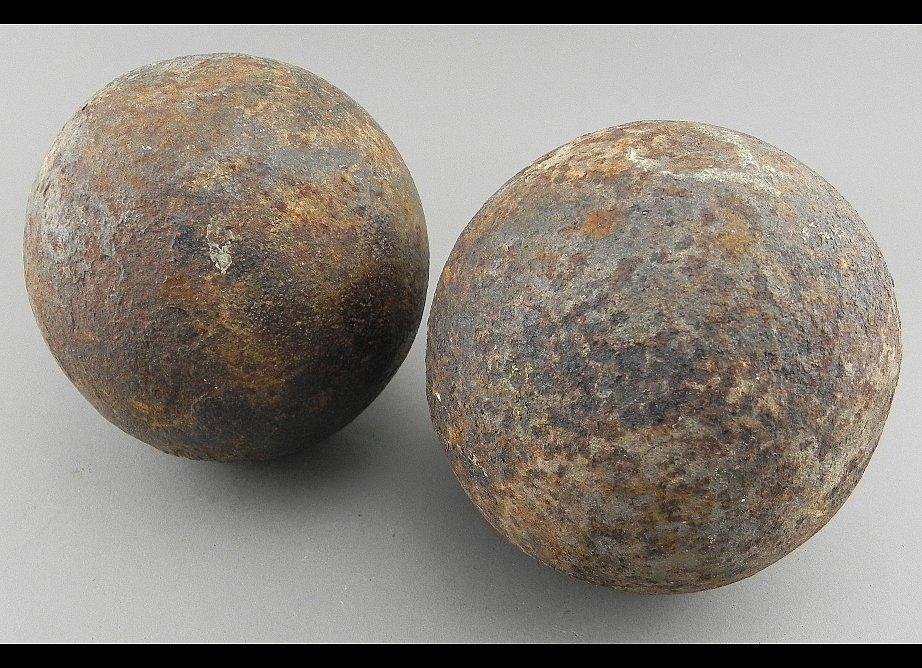 Group of 2 Civil War Cannon Balls