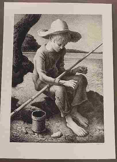 "Thomas Hart Benton ""The Little Fisherman"" Lithograph"