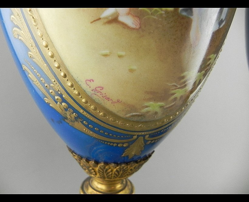 Pair of Sevres Style Urns. Signed E. Grisard - 3