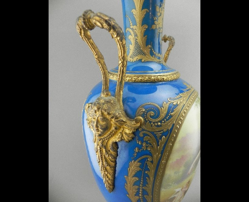 Pair of Sevres Style Urns. Signed E. Grisard - 4