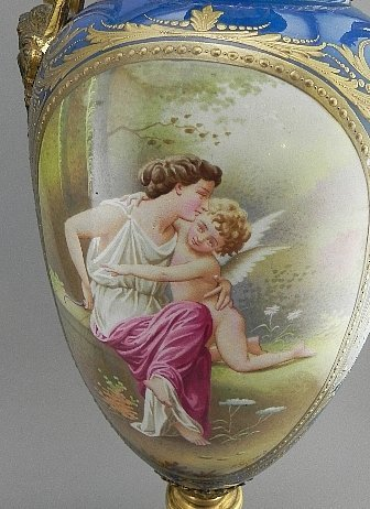 Pair of Sevres Style Urns. Signed E. Grisard - 5