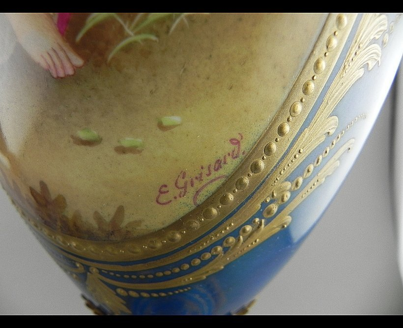 Pair of Sevres Style Urns. Signed E. Grisard - 6