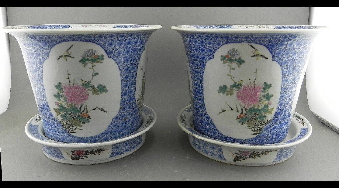 Pr. Circa 1900 Chinese Cache Pots w/Liners