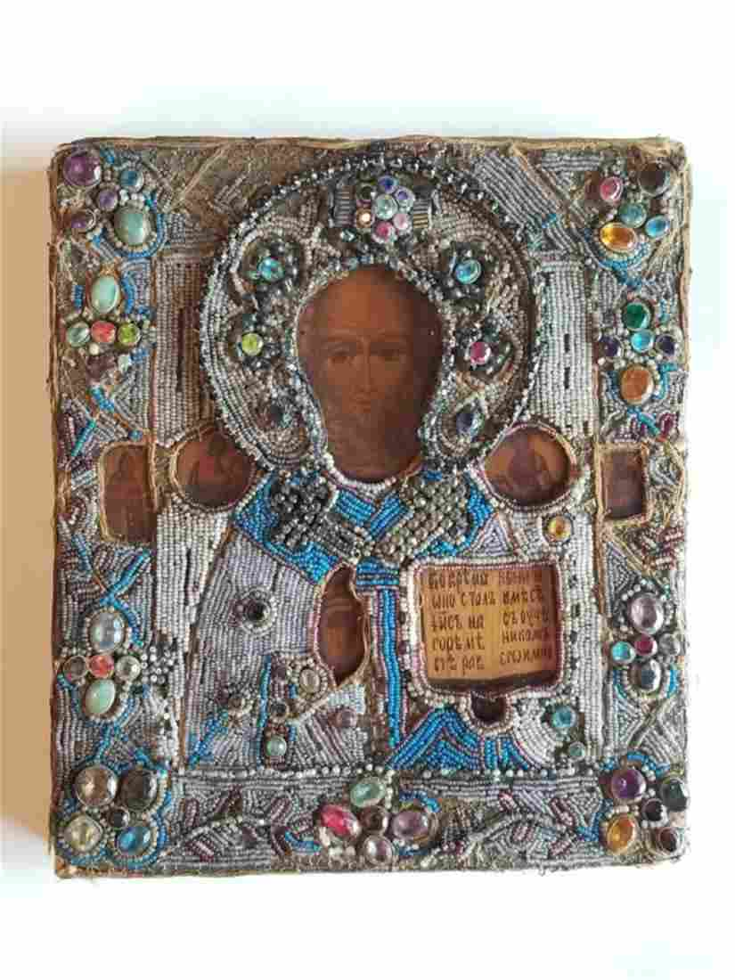 19C Russian Icon St.Nicholas Beads Gems Oklad