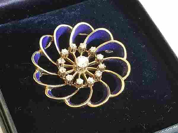 Art Deco Tiffany & Co Gold Diamond Brooch Pendant