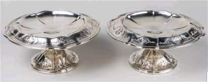 Antique Pair Black Starr  Frost Sterling Silver Tazza