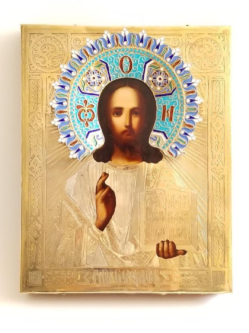 19C Russian Gilt Silver Enamel Icon Christ Pantocrator