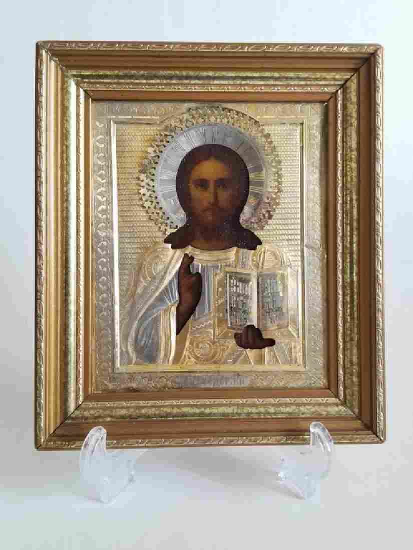 Antique Russian Gilt Silver Icon Christ Pantocrator
