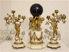 Original Set of Bronze and Marble Globe Clock Set