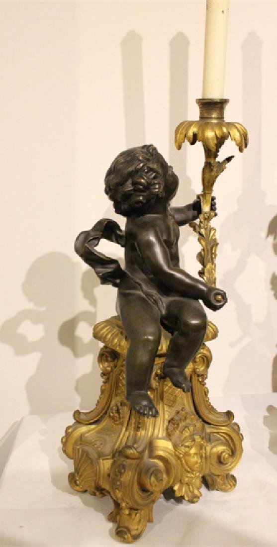 Pair of Bronze Candle Holder w Cupid - 6