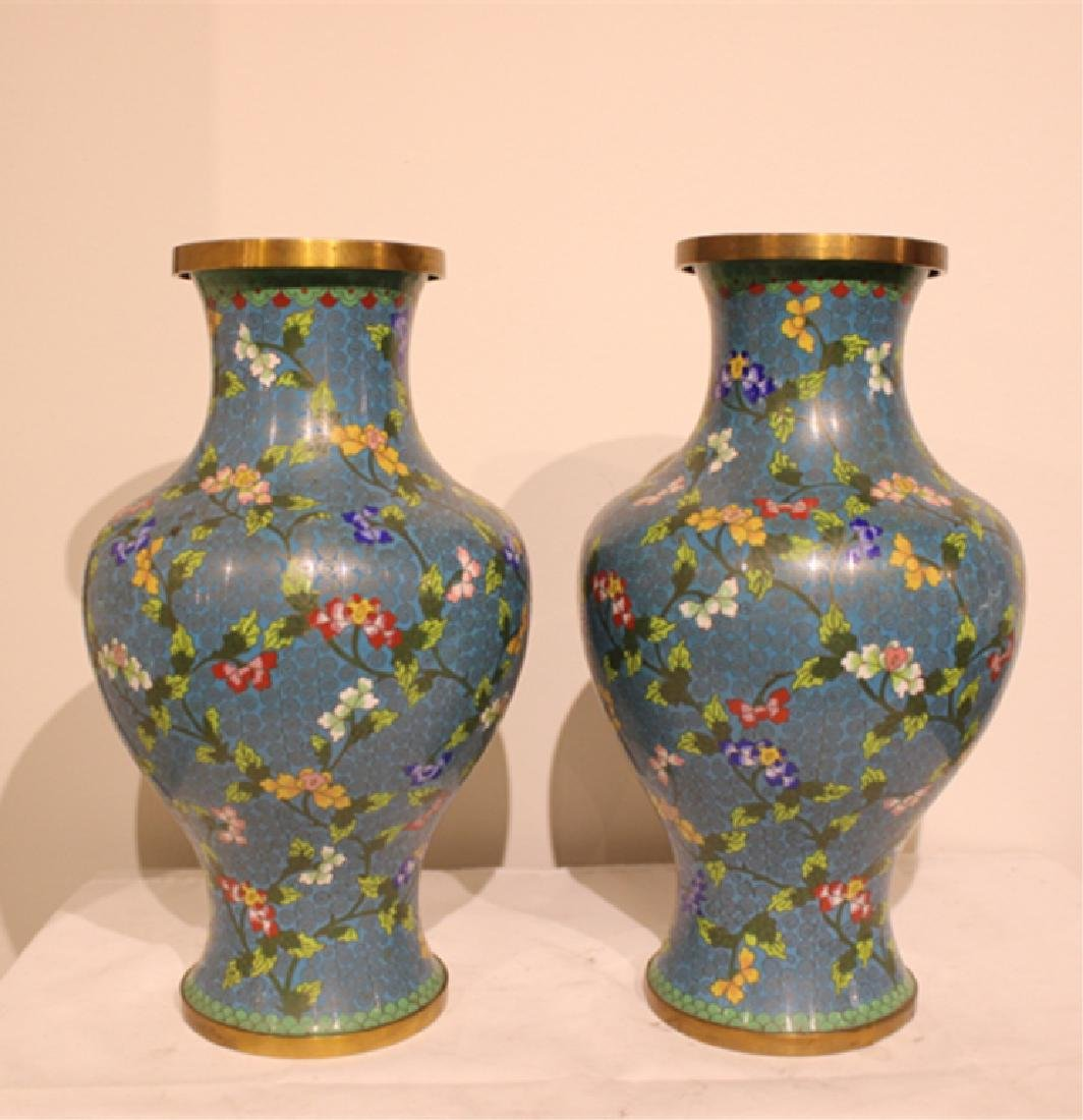 Pair of Republican Chinese Cloisonne Vases