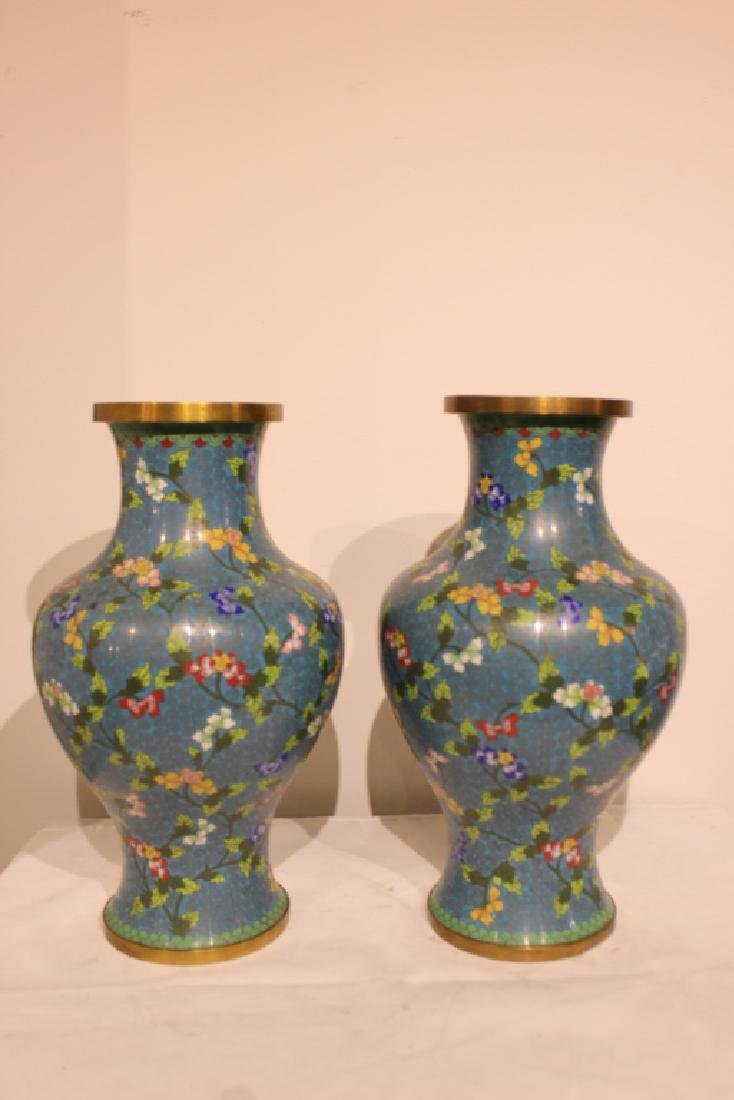 Pair of Republican Chinese Cloisonne Vases - 2