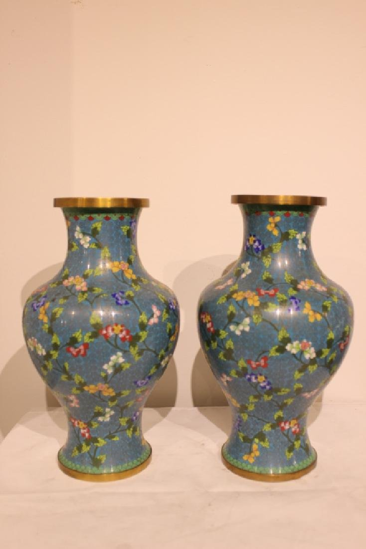 Pair of Republican Chinese Cloisonne Vases - 3