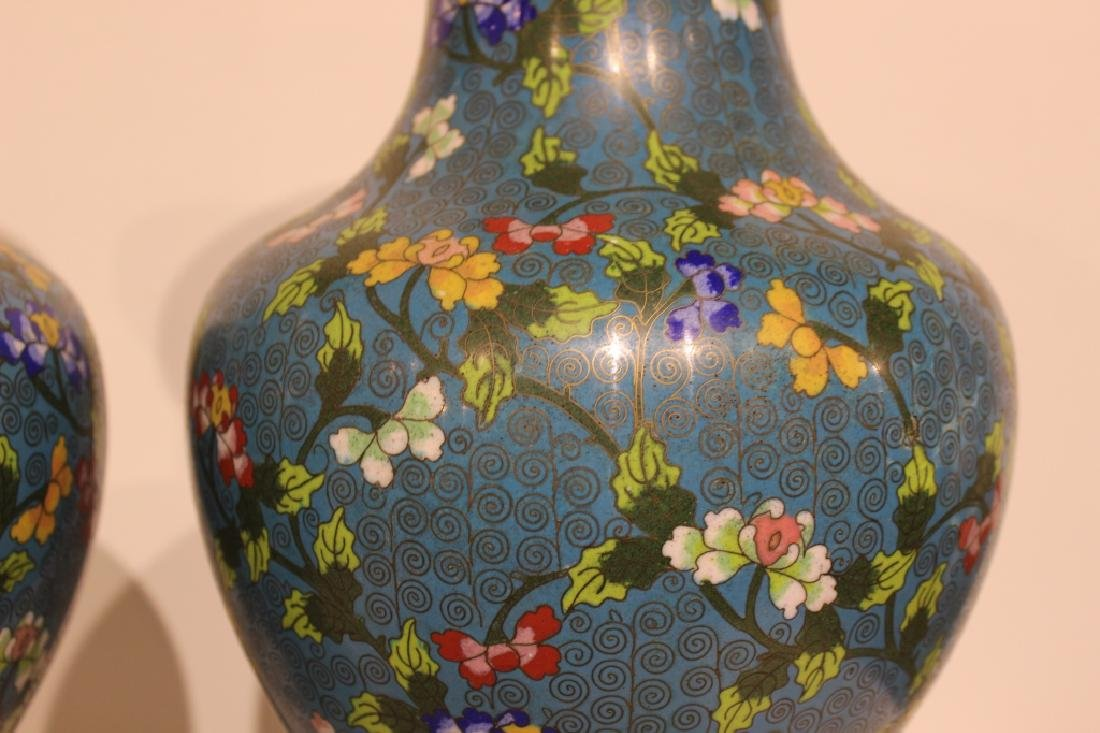 Pair of Republican Chinese Cloisonne Vases - 4