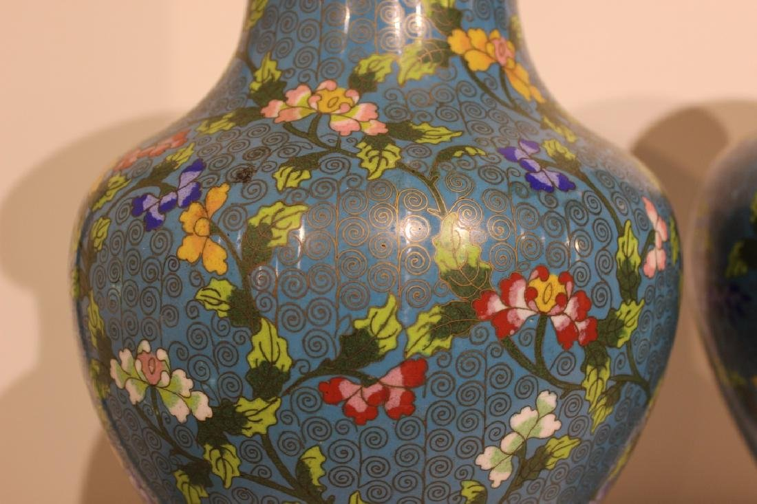 Pair of Republican Chinese Cloisonne Vases - 5