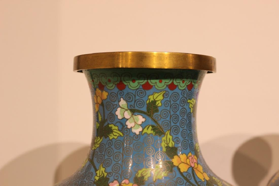 Pair of Republican Chinese Cloisonne Vases - 6