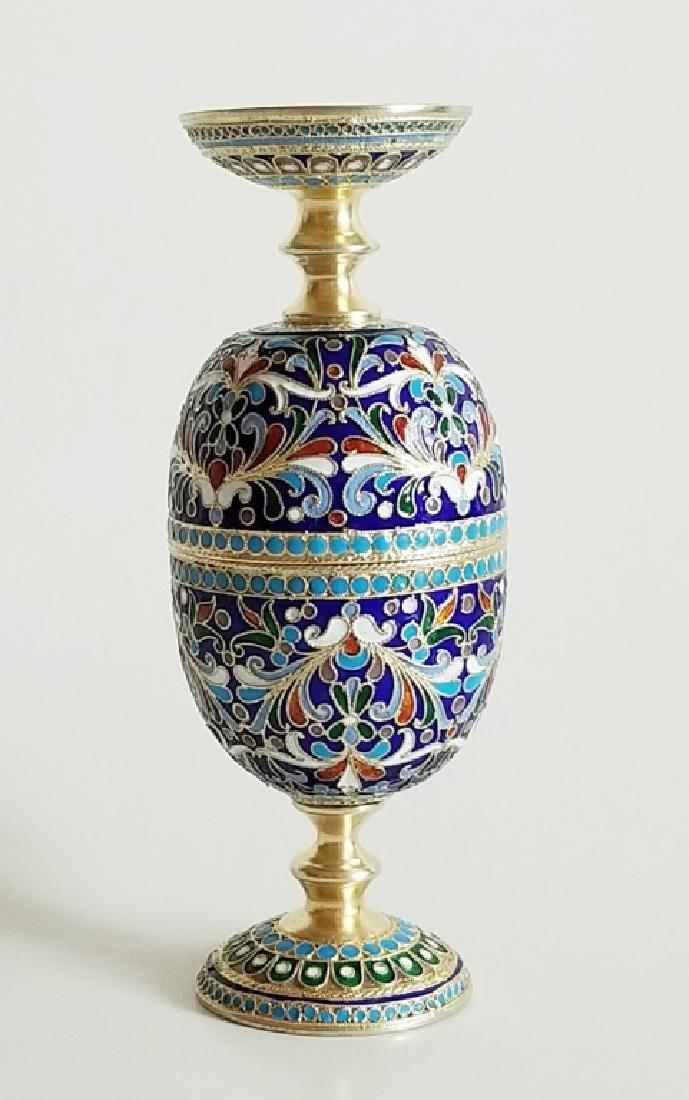Antique Russian Gilt Silver Enamel Egg Cups