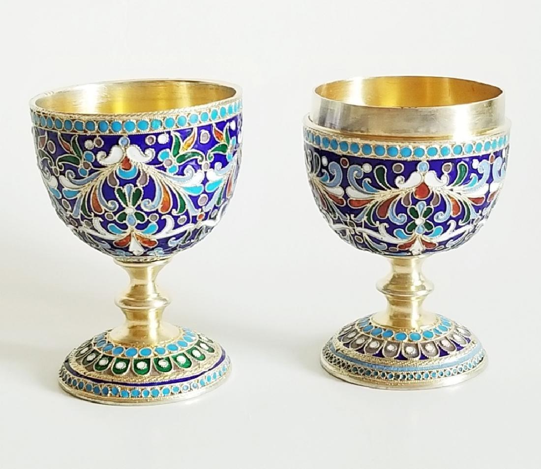 Antique Russian Gilt Silver Enamel Egg Cups - 2