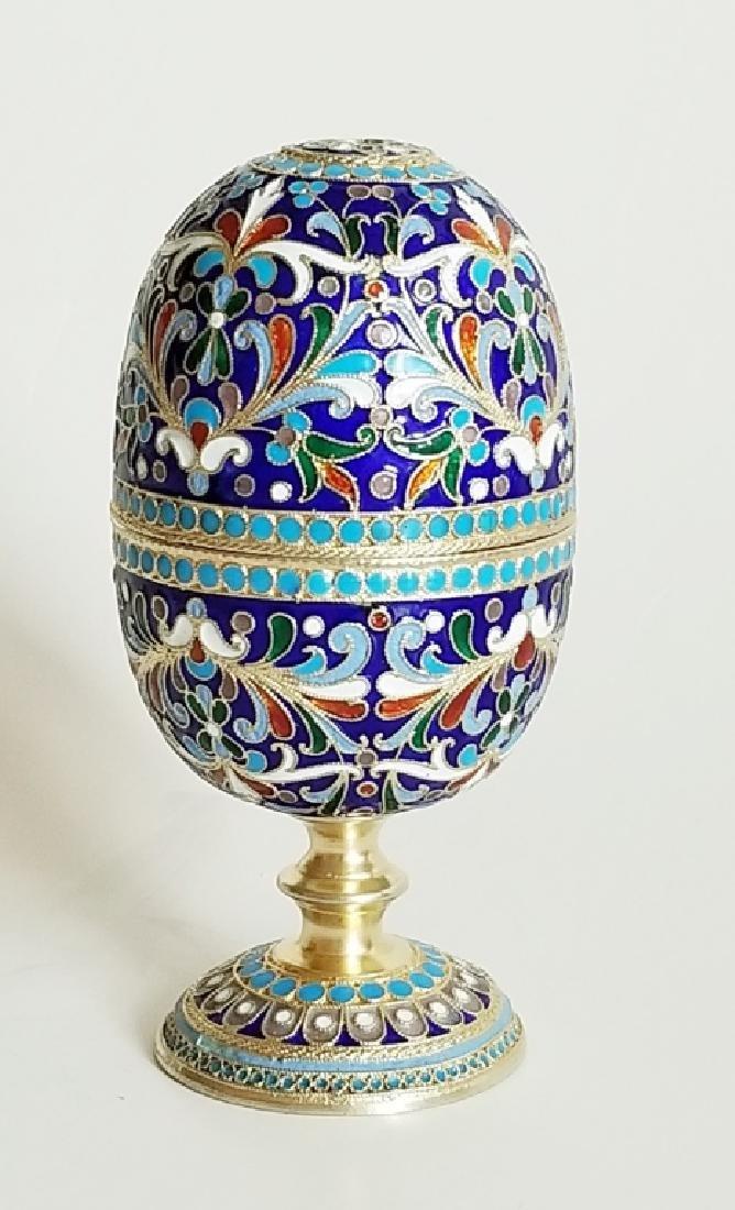 Antique Russian Gilt Silver Enamel Egg Cups - 4