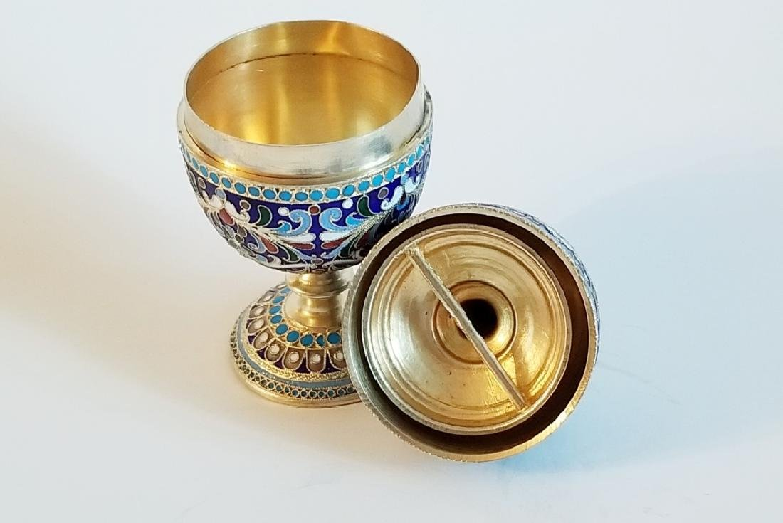 Antique Russian Gilt Silver Enamel Egg Cups - 5