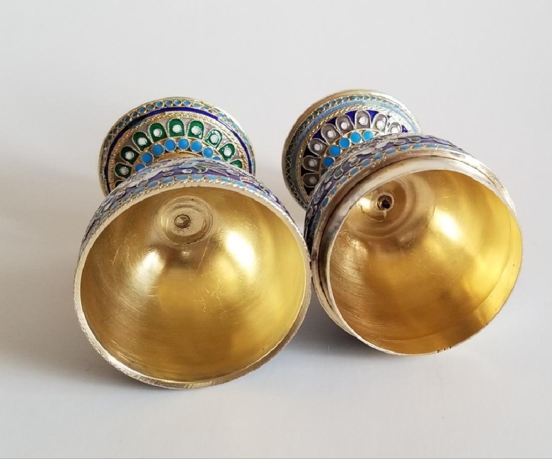 Antique Russian Gilt Silver Enamel Egg Cups - 6