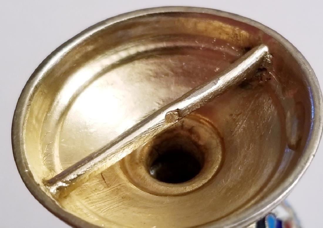 Antique Russian Gilt Silver Enamel Egg Cups - 8