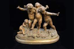 "Signed""Carrier Belleuse"",Terracotta Figural Group"