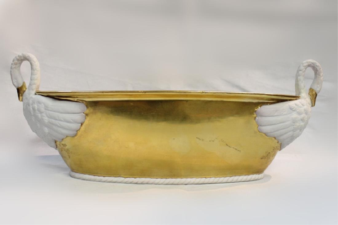Empire Style Serve Porcelain Bowl Tray w Swan Hand