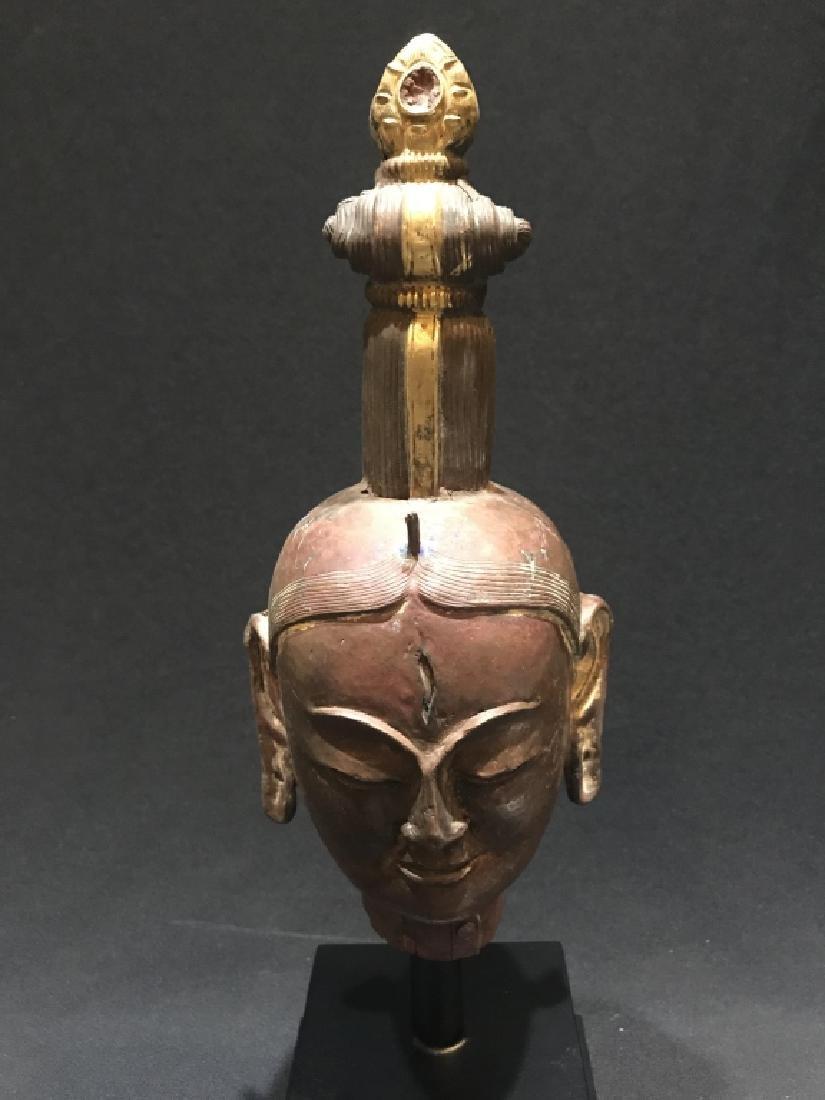 Chinese Bronze Carved Buddha Head