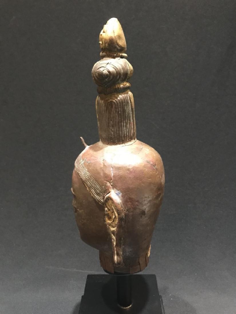 Chinese Bronze Carved Buddha Head - 4